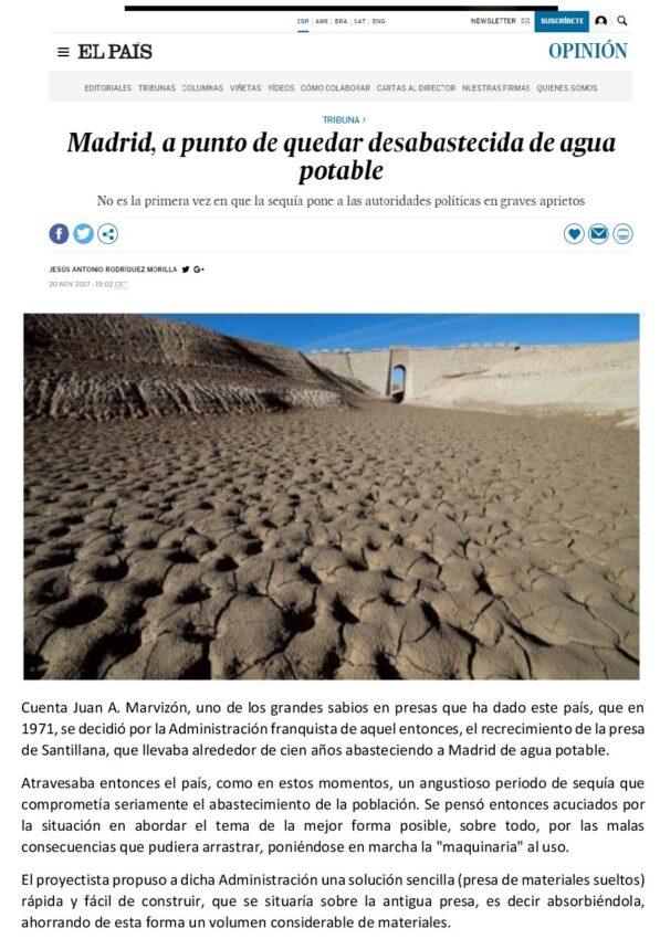 Artículo el pais Madrid a punto de quedar desabastecida por el agua potable - ♦Madrid, a punto de quedarse desabastecida de agua potable