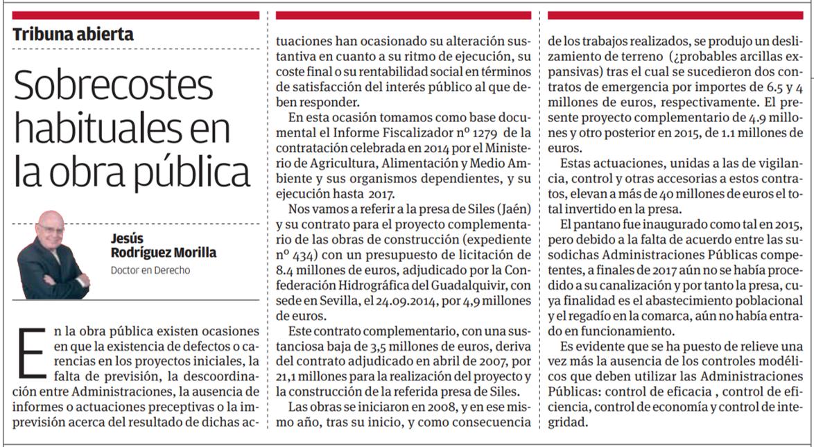 Artículo Viva Sevilla Sobrecostes habituales en la obra pública - ♦Sobrecostes habituales en la obra pública