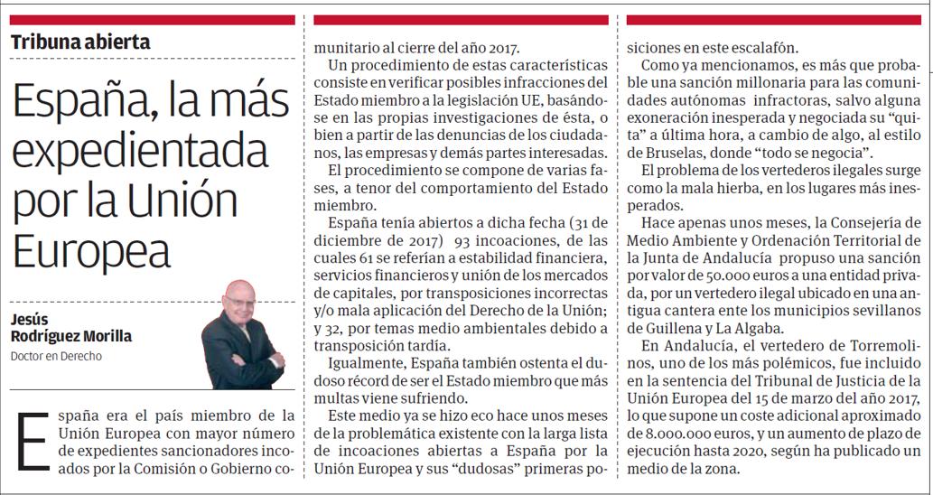 Artículo Viva Sevilla España la más expedientada por la Unión Europea escrito - ♦España, la más expedientada por la Unión Europea